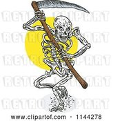 Vector Clip Art of Retro Skeleton Grim Reaper with a Scythe by Patrimonio