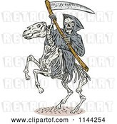 Vector Clip Art of Retro Skeleton Grim Reaper with a Scythe on a Horse by Patrimonio