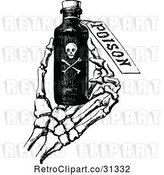 Vector Clip Art of Retro Skeleton Hand Holding Poison by Prawny Vintage