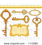 Vector Clip Art of Retro Skeleton Keys a Frame Border and Design Elements by BNP Design Studio