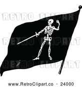 Vector Clip Art of Retro Skeleton Pirate Flag by Prawny Vintage