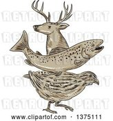 Vector Clip Art of Retro Sketch of a Deer Buck, Trout Fish and Quail by Patrimonio