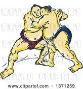 Vector Clip Art of Retro Sketch of Sumo Wrestlers in a Match by Patrimonio