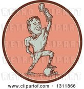 Vector Clip Art of Retro Sketched American Football Player Resting a Foot on a Helmet and Holding up a Trophy in a Pink Oval by Patrimonio