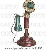 Vector Clip Art of Retro Sketched and Color Filled Candlestick Telephone by Vector Tradition SM