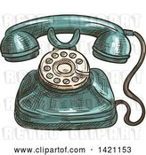 Vector Clip Art of Retro Sketched and Color Filled Telephone by Vector Tradition SM