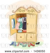 Vector Clip Art of Retro Sketched Antique Wardrobe Cabinet with Clothing and Shoes by BNP Design Studio