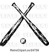 Vector Clip Art of Retro Sketched Baseball and Crossed Bats by Prawny Vintage