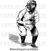 Vector Clip Art of Retro Sketched Baseball Player Catcher by Prawny Vintage