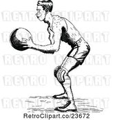 Vector Clip Art of Retro Sketched Basketball Player by Prawny Vintage