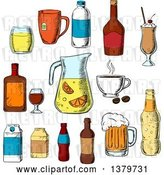 Vector Clip Art of Retro Sketched Beverages by Vector Tradition SM