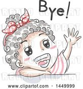 Vector Clip Art of Retro Sketched Black Girl Waving and Saying Bye by BNP Design Studio