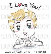 Vector Clip Art of Retro Sketched Blond White Boy Forming a Heart with His Hands and Saying I Love You by BNP Design Studio