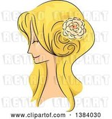 Vector Clip Art of Retro Sketched Blond White Lady in Profile, with Her Hair in a Long 50s Style by BNP Design Studio