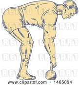 Vector Clip Art of Retro Sketched Bodybuilder in Profile, Bending over to Grab a Kettlebell by Patrimonio