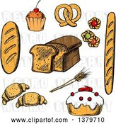 Vector Clip Art of Retro Sketched Bread and Pastries by Vector Tradition SM