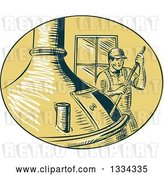 Vector Clip Art of Retro Sketched Brewmaster Stirring Beer in a Kettle by Patrimonio