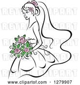 Vector Clip Art of Retro Sketched Bride with Pink Flowers in Her Hair and Bouquet by Vector Tradition SM
