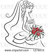 Vector Clip Art of Retro Sketched Bride with Red Flowers in Her Bouquet by Vector Tradition SM
