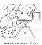 Vector Clip Art of Retro Sketched Camera Guy at Work by Patrimonio