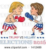 Vector Clip Art of Retro Sketched Caricature of Donald Trump Vs Hillary Clinton in a Boxing Match by Patrimonio