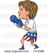Vector Clip Art of Retro Sketched Caricature of Hillary Clinton Boxing by Patrimonio