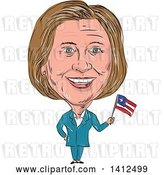 Vector Clip Art of Retro Sketched Caricature of Hillary Clinton Holding a Flag by Patrimonio