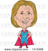 Vector Clip Art of Retro Sketched Caricature of Hillary Clinton in a Super Hero, Wrestler or Luchero Cape by Patrimonio