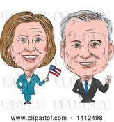 Vector Clip Art of Retro Sketched Caricature of Hillary Clinton Waving a Flag Next to Tim Kaine by Patrimonio