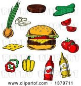 Vector Clip Art of Retro Sketched Cheeseburger and Ingredients by Vector Tradition SM