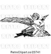 Vector Clip Art of Retro Sketched Cherub with a Feather Quill by Prawny Vintage