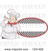Vector Clip Art of Retro Sketched Chubby White Male Chef Touching the Tip of His Mustache by a Checkered Oval Label by BNP Design Studio