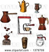 Vector Clip Art of Retro Sketched Circle of Coffee Elements by Vector Tradition SM