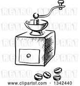 Vector Clip Art of Retro Sketched Coffee Grinder and Beans by Vector Tradition SM