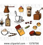 August 14th, 2018: Vector Clip Art of Retro Sketched Coffee Items by Vector Tradition SM