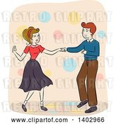 Vector Clip Art of Retro Sketched Couple Dancing by BNP Design Studio
