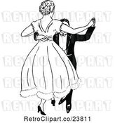 Vector Clip Art of Retro Sketched Couple Dancing by Prawny Vintage