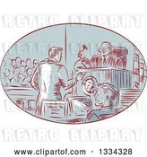 Vector Clip Art of Retro Sketched Courtroom Scene with a Judge, Defendant, Prosecuter, Jury and Attorney by Patrimonio
