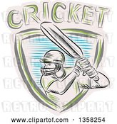 Vector Clip Art of Retro Sketched Cricket Batsman in a Shield with Text by Patrimonio