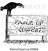 Vector Clip Art of Retro Sketched Crow on a Table of Contents Sign by Prawny Vintage