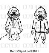 Vector Clip Art of Retro Sketched Crying Babies by Prawny Vintage