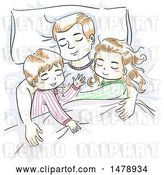Vector Clip Art of Retro Sketched Dad and Children Sleeping by BNP Design Studio