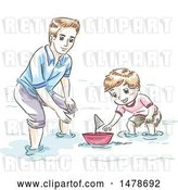 Vector Clip Art of Retro Sketched Dad and Son Playing with a Boat by BNP Design Studio