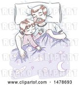 Vector Clip Art of Retro Sketched Dad and Son Sleeping by BNP Design Studio