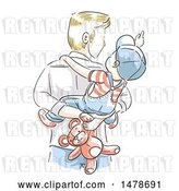 Vector Clip Art of Retro Sketched Dad Carrying His Son and Teddy Bear on His Back by BNP Design Studio