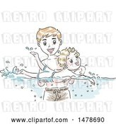 Vector Clip Art of Retro Sketched Dad Teaching His Son How to Swim by BNP Design Studio