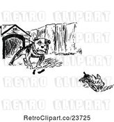 Vector Clip Art of Retro Sketched Dog Chasing Another from a House by Prawny Vintage