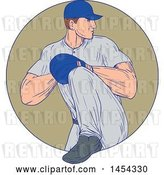 Vector Clip Art of Retro Sketched Drawing Male Baseball Player Pitching in a Tan Circle by Patrimonio