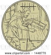 Vector Clip Art of Retro Sketched Drawing Styled Medieval Carpenter Holding Saw in His Workshop by Patrimonio