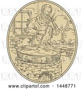 Vector Clip Art of Retro Sketched Drawing Styled Medieval Monk Brewing Beer by Patrimonio